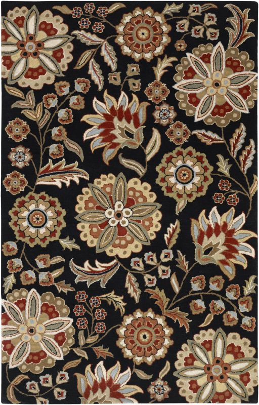 Surya ATH-5017 Athena Hand Tufted Wool Rug Black 5 x 8 Home Decor Rugs