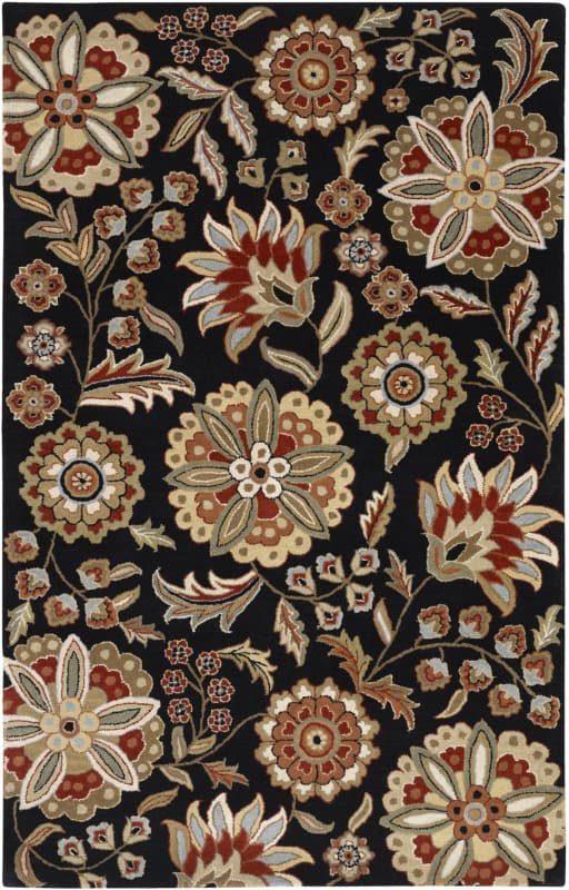 Surya ATH-5017 Athena Hand Tufted Wool Rug Black 6 x 9 Home Decor Rugs