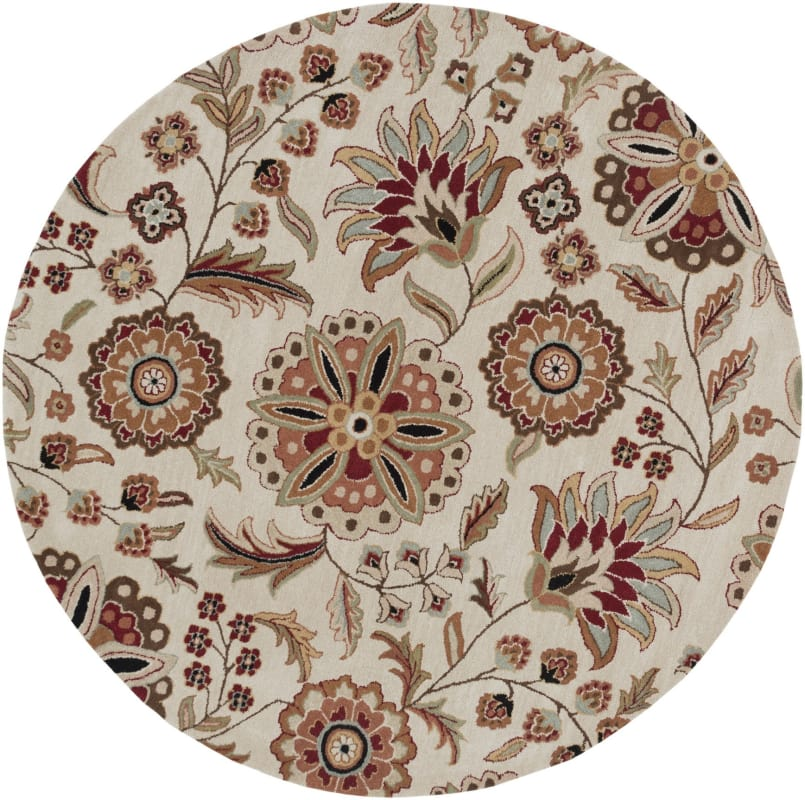 Surya ATH-5035 Athena Hand Tufted Wool Rug Brown 4 x 4 Round Home
