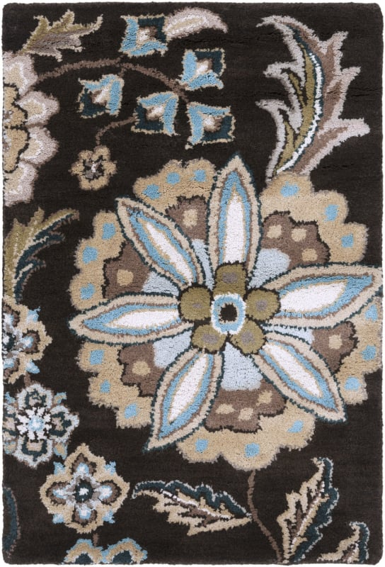 Surya ATH-5061 Athena Hand Tufted Wool Rug Black 2 x 3 Home Decor Rugs