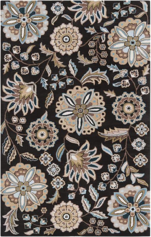 Surya ATH-5061 Athena Hand Tufted Wool Rug Black 5 x 8 Home Decor Rugs