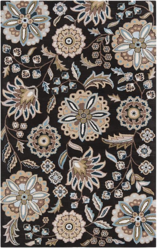Surya ATH-5061 Athena Hand Tufted Wool Rug Black 6 x 9 Home Decor Rugs