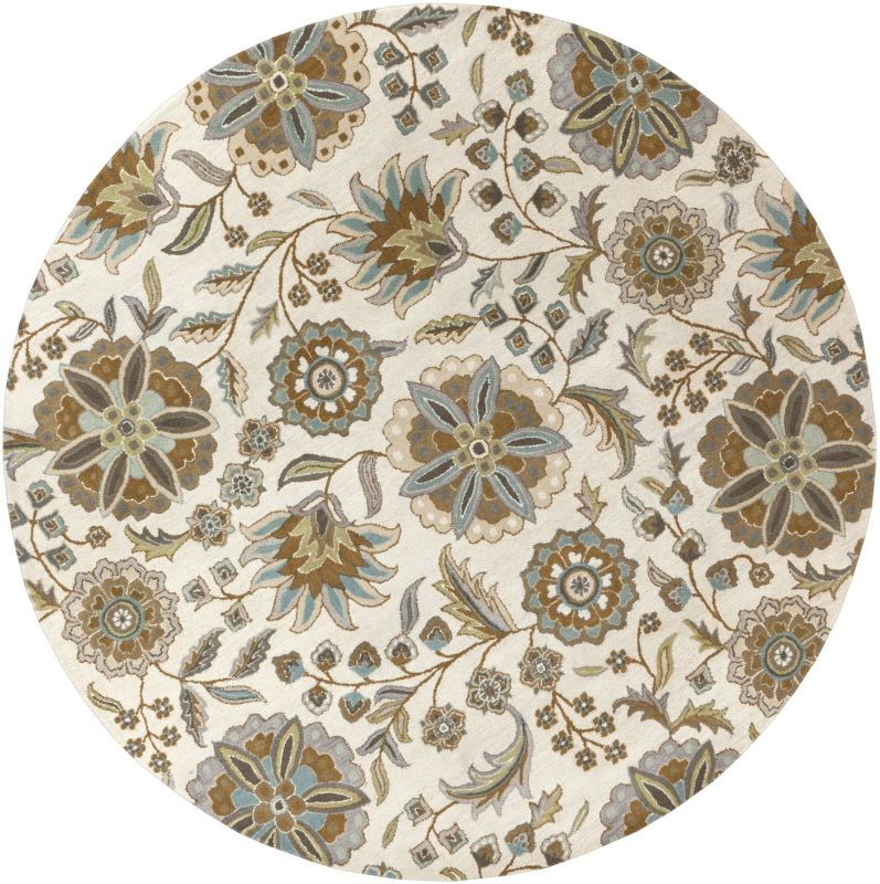Surya ATH-5063 Athena Hand Tufted Wool Rug Blue 4 x 4 Round Home Decor