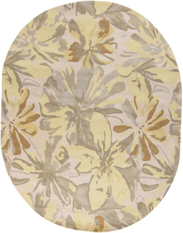 Surya ATH-5071 Athena Hand Tufted Wool Rug Gold 8 x 10 Oval Home Decor