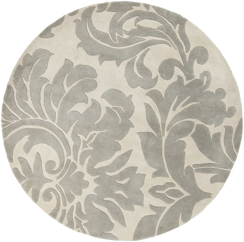 Surya ATH-5073 Athena Hand Tufted Wool Rug Gray 4 x 4 Round Home Decor
