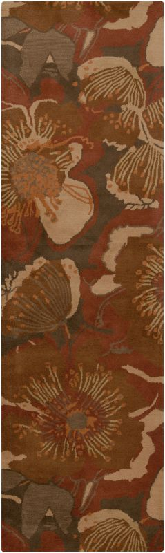 Surya ATH-5102 Athena Hand Tufted Wool Rug Red 2 1/2 x 8 Home Decor