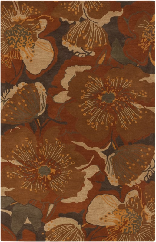 Surya ATH-5102 Athena Hand Tufted Wool Rug Orange 4 x 6 Home Decor