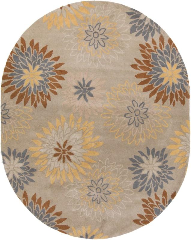 Surya ATH-5106 Athena Hand Tufted Wool Rug Gray 8 x 10 Oval Home Decor