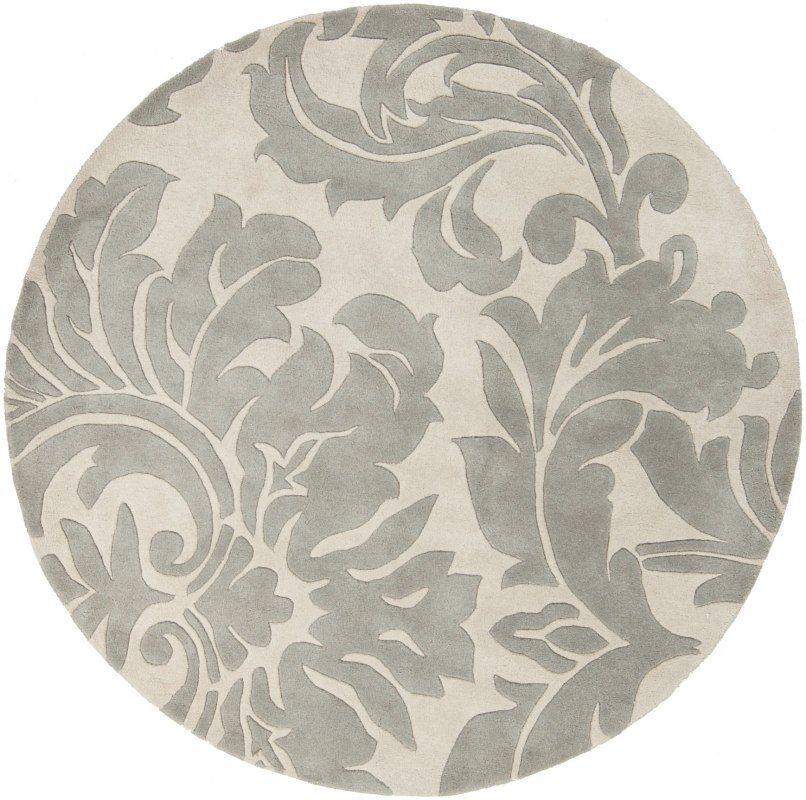 Surya ATH-5114 Athena Hand Tufted Wool Rug Gray 4 x 4 Round Home Decor