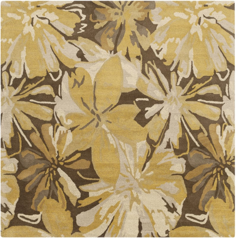 Surya ATH-5115 Athena Hand Tufted Wool Rug Gold 8 x 8 Home Decor Rugs