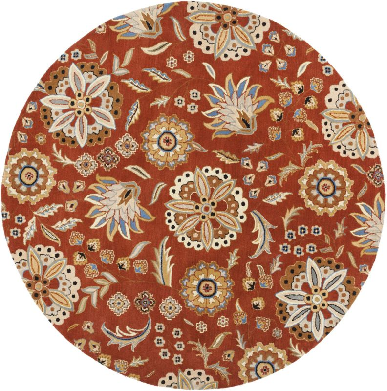 Surya ATH-5126 Athena Hand Tufted Wool Rug Red 8 x 8 Round Home Decor