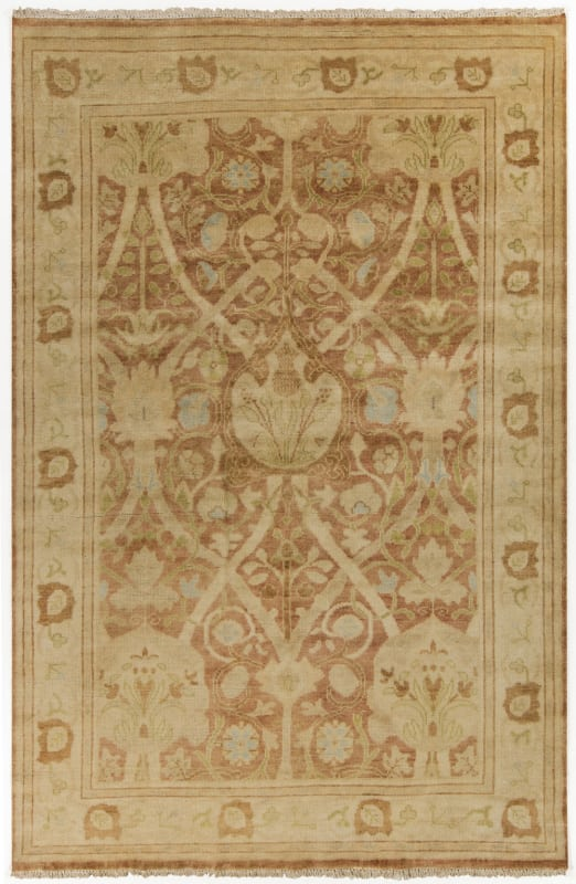 Surya ATQ-1002 Antique Hand Knotted New Zealand Wool Rug Orange 5 1/2