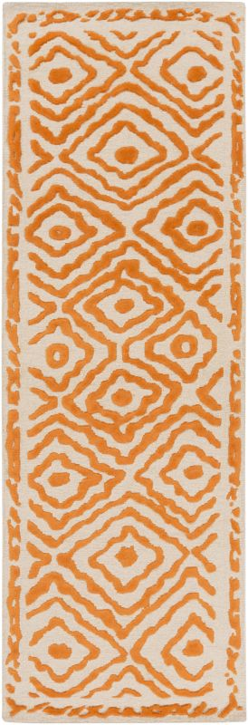 Surya ATS-1003 Atlas Hand Knotted Wool Rug Orange 2 1/2 x 8 Home Decor