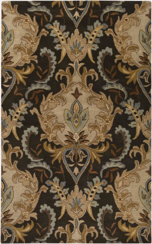 Surya AUR-1000 Aurora Hand Tufted Wool Rug Black 5 x 8 Home Decor Rugs