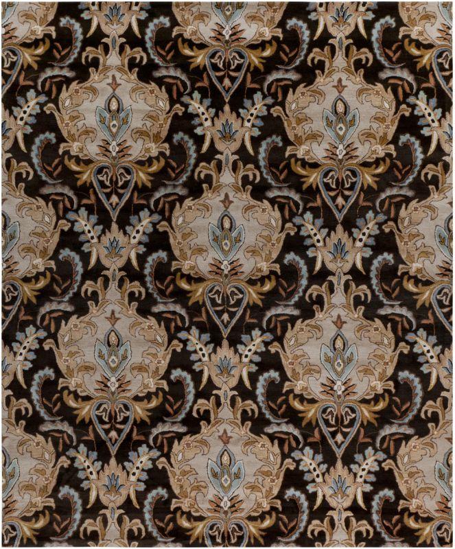 Surya AUR-1000 Aurora Hand Tufted Wool Rug Black 8 x 11 Home Decor