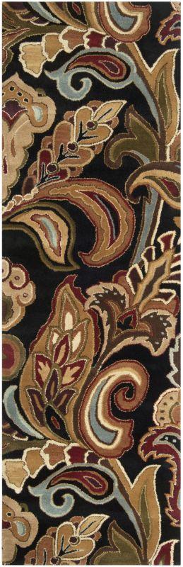 Surya AUR-1002 Aurora Hand Tufted Wool Rug Black 2 1/2 x 8 Home Decor