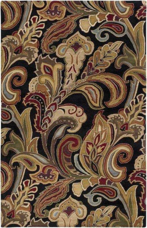 Surya AUR-1002 Aurora Hand Tufted Wool Rug Black 9 x 13 Home Decor