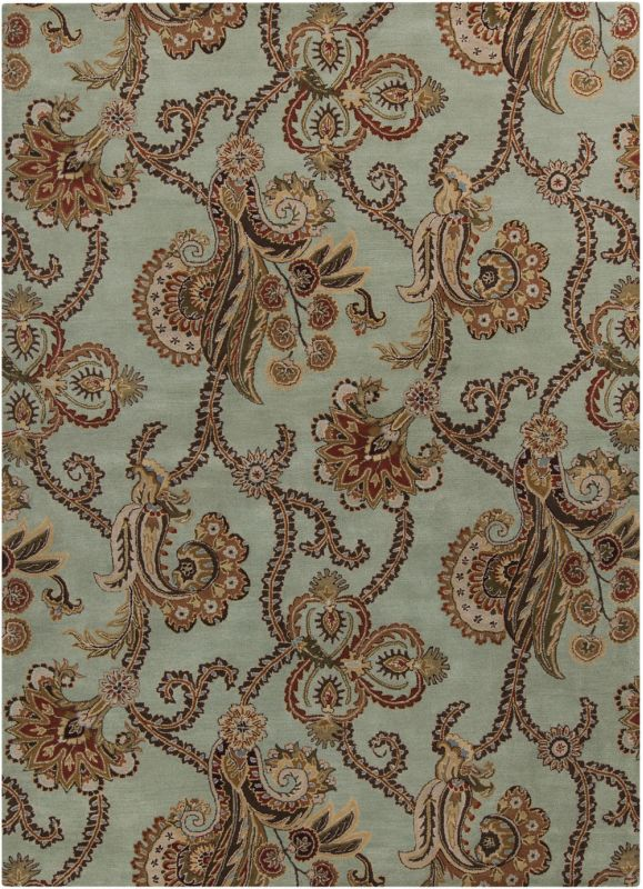 Surya AUR-1005 Aurora Hand Tufted Wool Rug Green 8 x 11 Home Decor