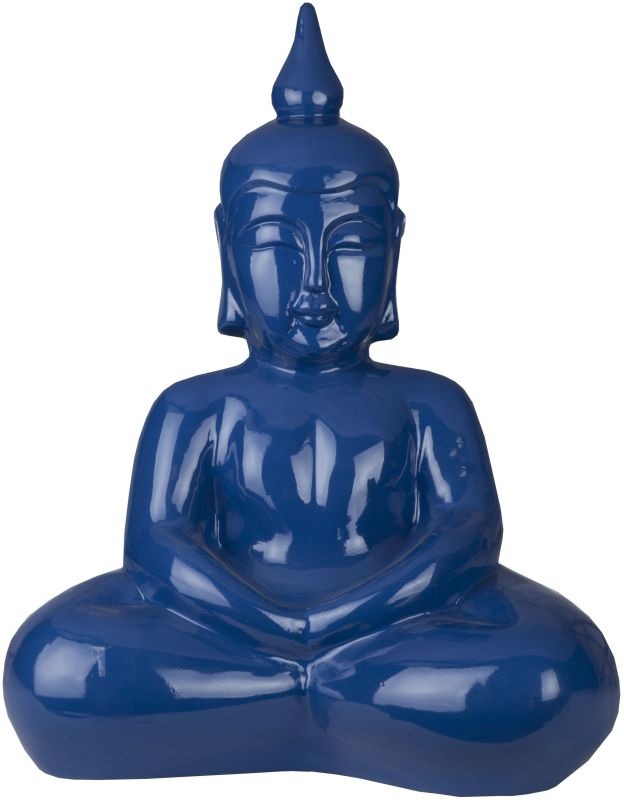 Surya BDH101 Ceramic Buddha Statue from the Buddha Collection Blue
