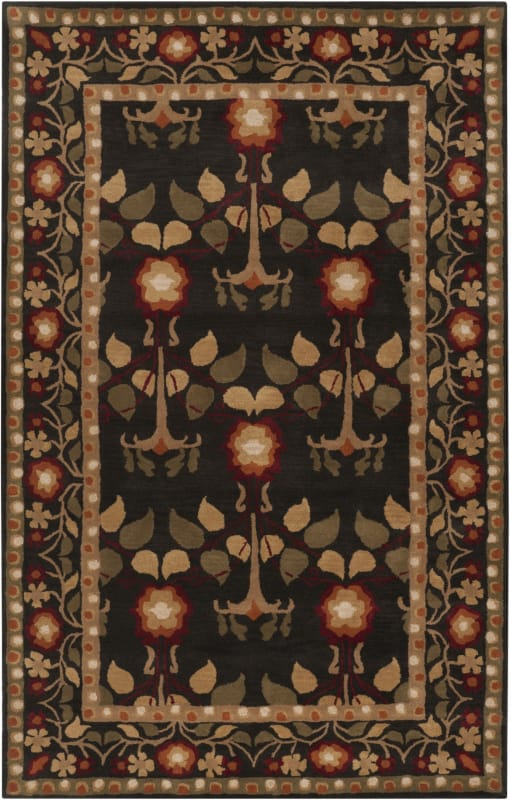 Surya BNG-5019 Bungalo Hand Tufted New Zealand Wool Rug Black 2 x 3