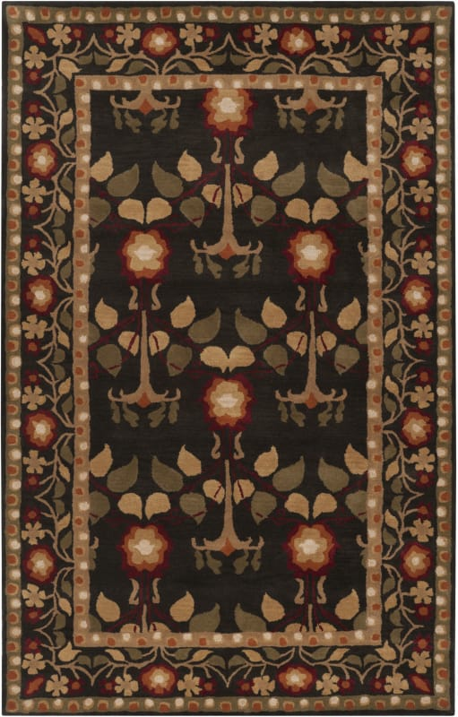 Surya BNG-5019 Bungalo Hand Tufted New Zealand Wool Rug Black 5 x 8