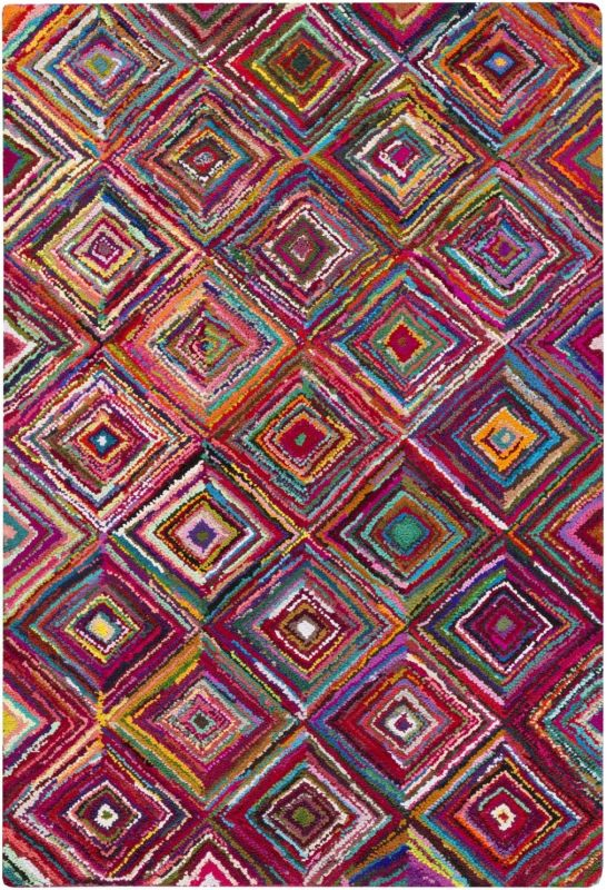 Surya BOH-2002 Boho Hand Hooked Cotton and Polyester Rug Pink 8 x 11