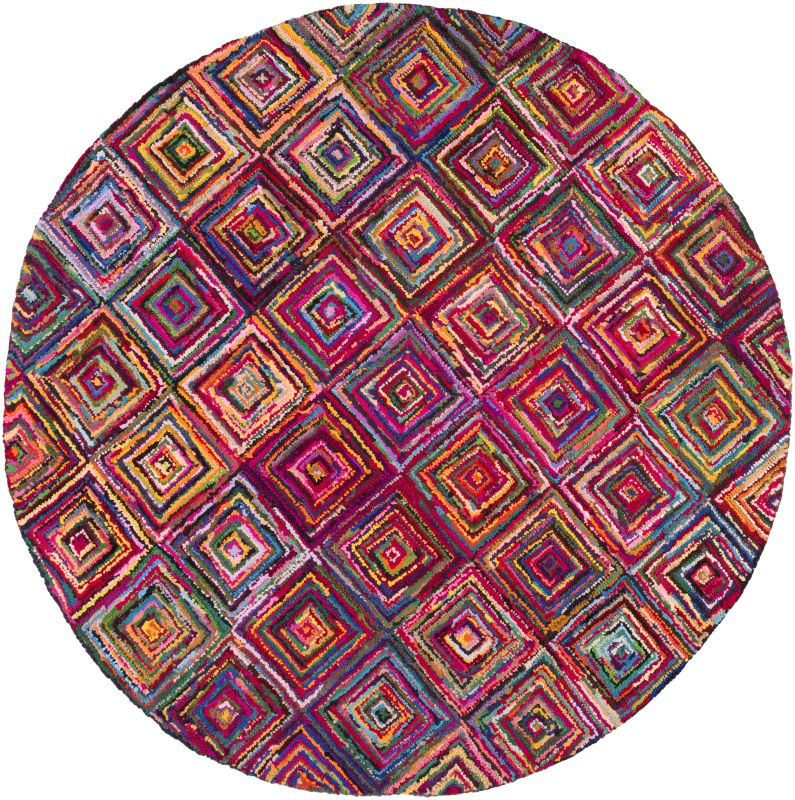 Surya BOH-2002 Boho Hand Hooked Cotton and Polyester Rug Pink 8 Round