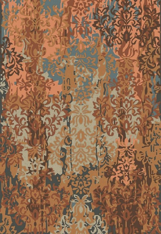 Surya BRC-1009 Brocade Hand Knotted New Zealand Wool Rug Orange 5 x 8