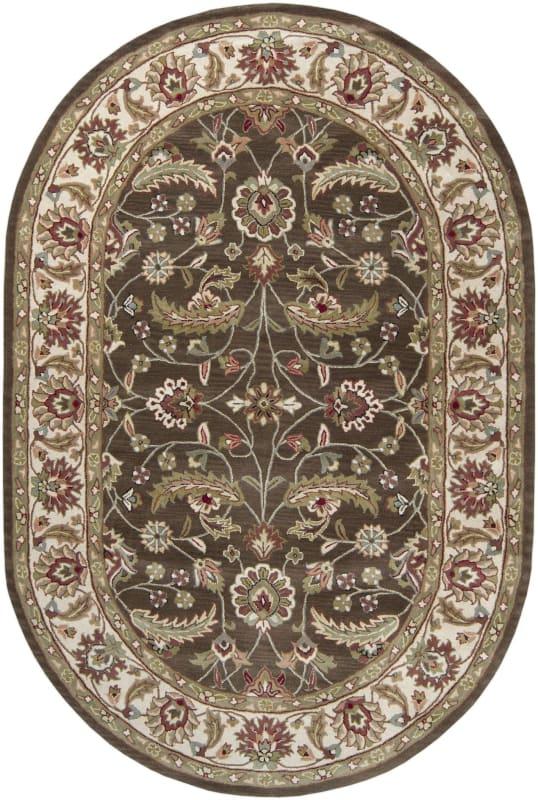 Surya CAE-1003 Caesar Hand Tufted Wool Rug Brown 6 x 9 Oval Home Decor