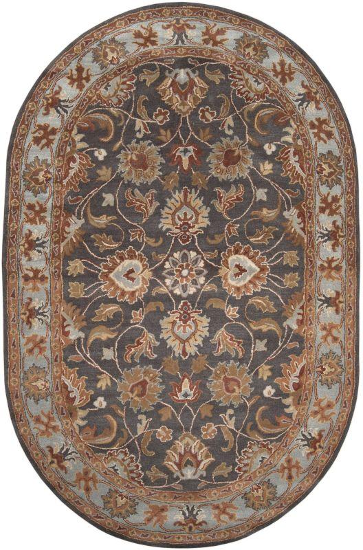 Surya CAE-1004 Caesar Hand Tufted Wool Rug Gray 6 x 9 Oval Home Decor