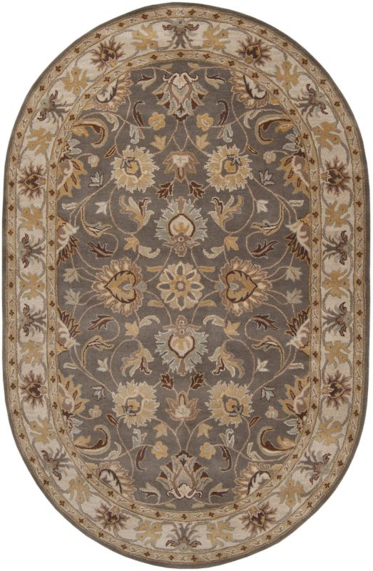 Surya CAE-1005 Caesar Hand Tufted Wool Rug Gray 6 x 9 Oval Home Decor
