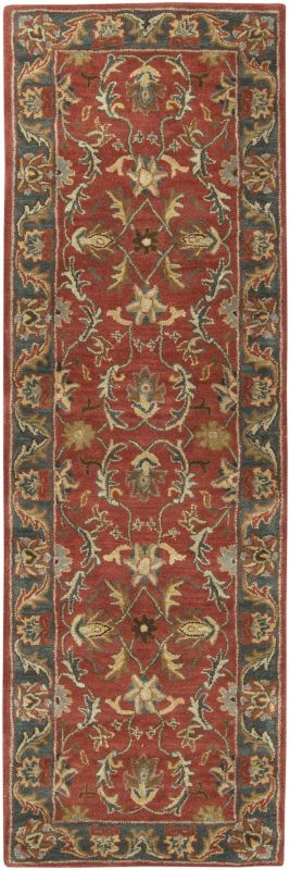 Surya CAE-1007 Caesar Hand Tufted Wool Rug Red 2 1/2 x 8 Home Decor