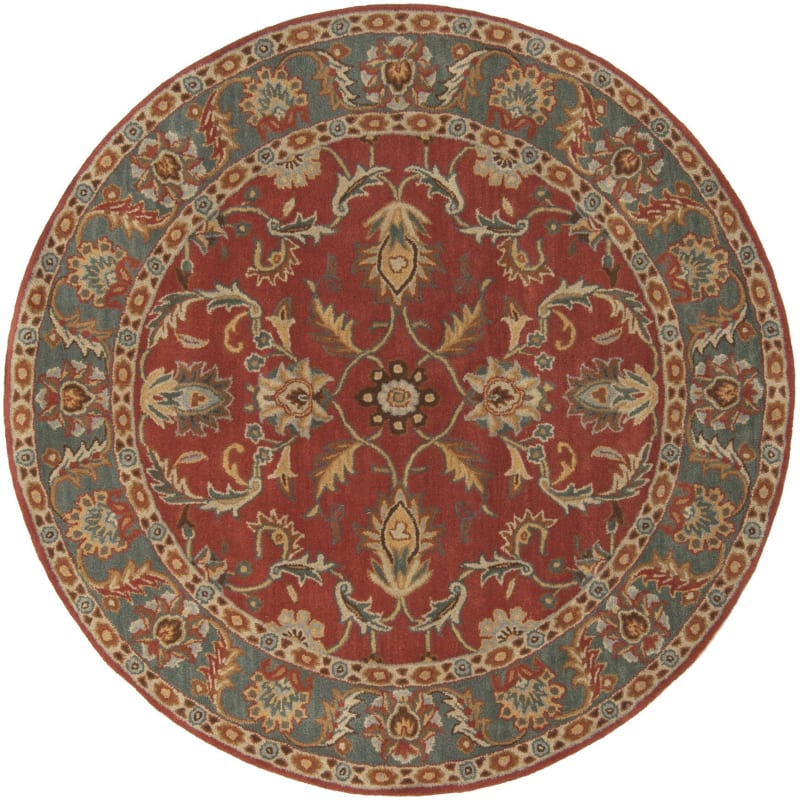 Surya CAE-1007 Caesar Hand Tufted Wool Rug Red 4 Round Home Decor Rugs