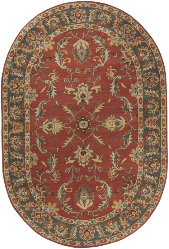 Surya CAE-1007 Caesar Hand Tufted Wool Rug Red 6 x 9 Oval Home Decor