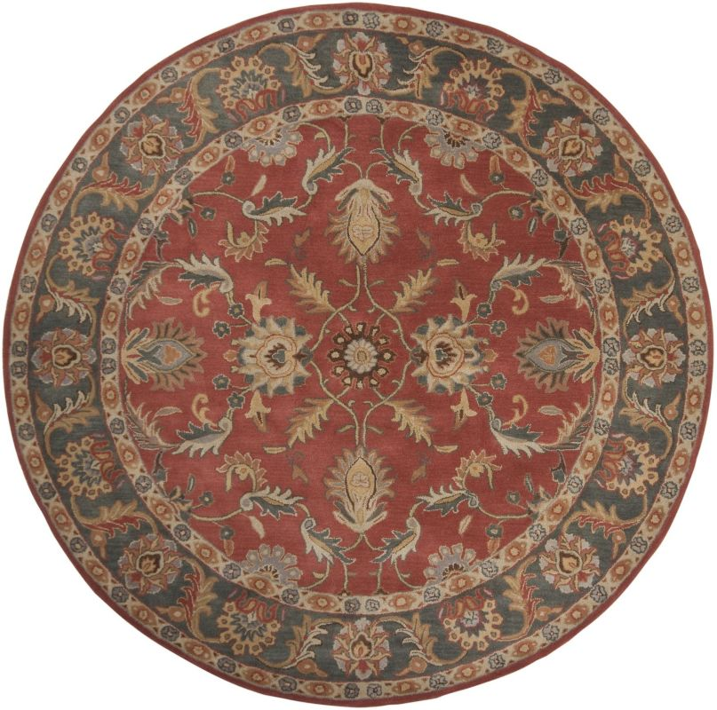 Surya CAE-1007 Caesar Hand Tufted Wool Rug Red 8 Round Home Decor Rugs