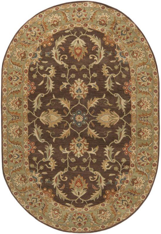 Surya CAE-1009 Caesar Hand Tufted Wool Rug Brown 6 x 9 Oval Home Decor