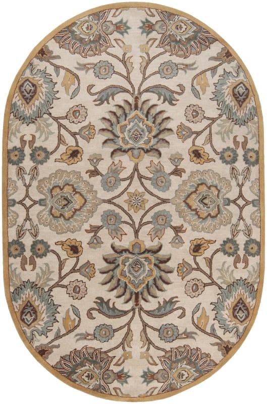 Surya CAE-1012 Caesar Hand Tufted Wool Rug Gray 6 x 9 Oval Home Decor