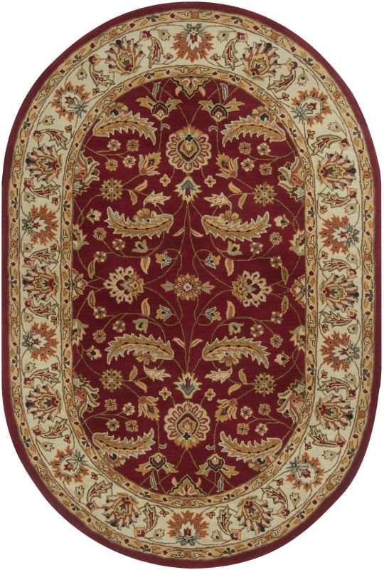 Surya CAE-1022 Caesar Hand Tufted Wool Rug Red 6 x 9 Oval Home Decor
