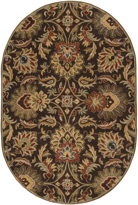 Surya CAE-1028 Caesar Hand Tufted Wool Rug Brown 6 x 9 Oval Home Decor