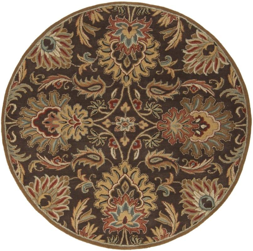 Surya CAE-1028 Caesar Hand Tufted Wool Rug Brown 6 Round Home Decor