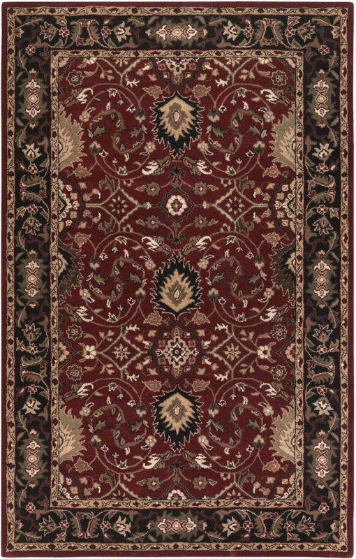 Surya CAE-1031 Caesar Hand Tufted Wool Rug Red 5 x 8 Home Decor Rugs