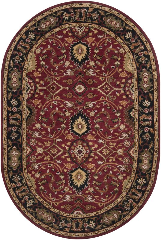 Surya CAE-1031 Caesar Hand Tufted Wool Rug Red 6 x 9 Oval Home Decor