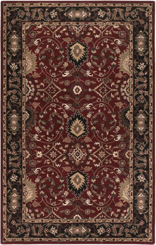 Surya CAE-1031 Caesar Hand Tufted Wool Rug Red 8 x 10 Oval Home Decor