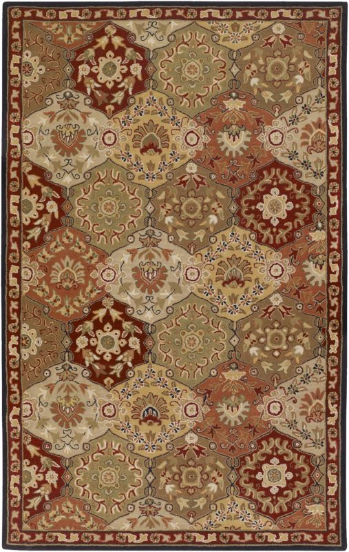 Surya CAE-1034 Caesar Hand Tufted Wool Rug Red 6 x 9 Oval Home Decor