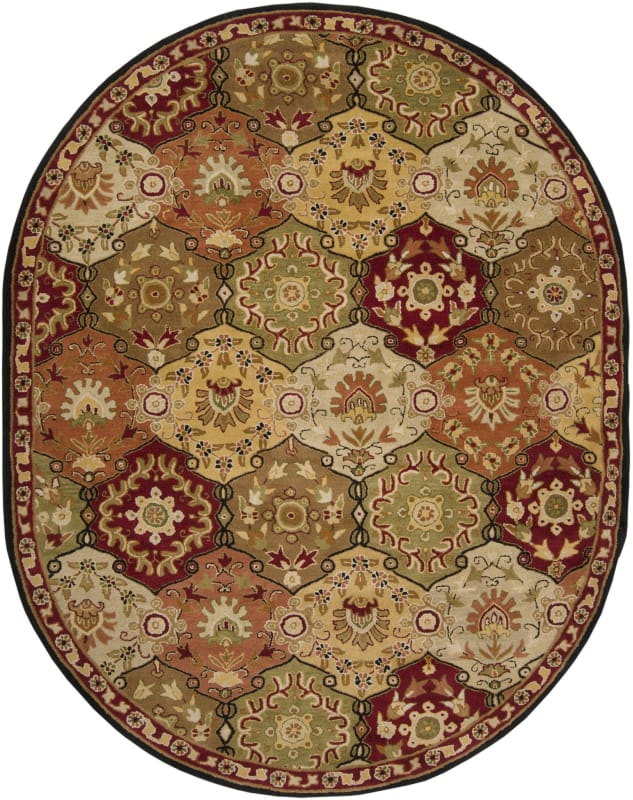 Surya CAE-1034 Caesar Hand Tufted Wool Rug Red 8 x 10 Oval Home Decor