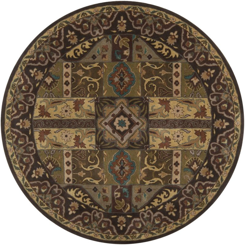 Surya CAE-1048 Caesar Hand Tufted Wool Rug Green 8 Round Home Decor