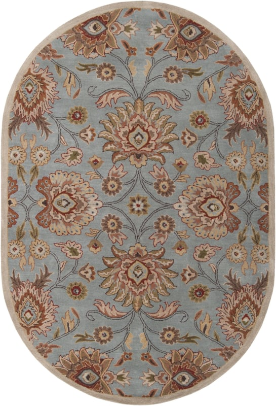 Surya CAE-1052 Caesar Hand Tufted Wool Rug Green 6 x 9 Oval Home Decor