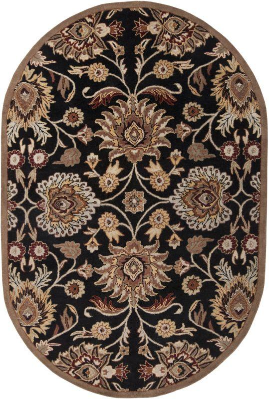 Surya CAE-1053 Caesar Hand Tufted Wool Rug Gray 6 x 9 Oval Home Decor