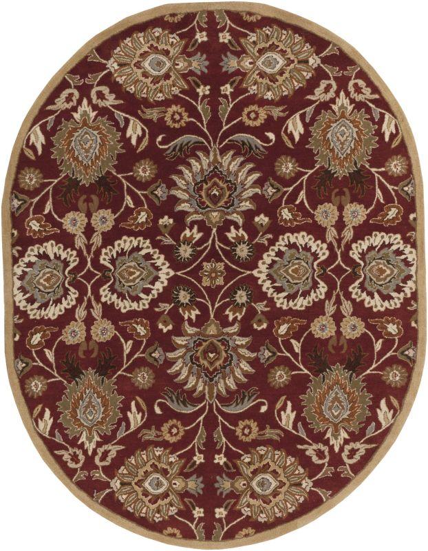 Surya CAE-1061 Caesar Hand Tufted Wool Rug Red 8 x 10 Oval Home Decor