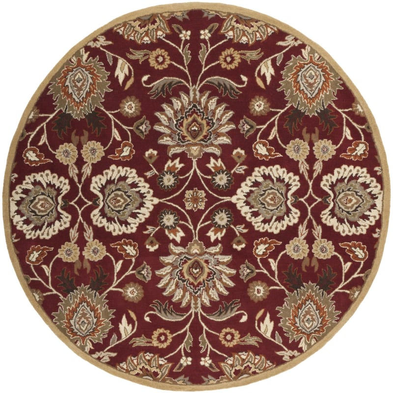 Surya CAE-1061 Caesar Hand Tufted Wool Rug Red 8 Round Home Decor Rugs